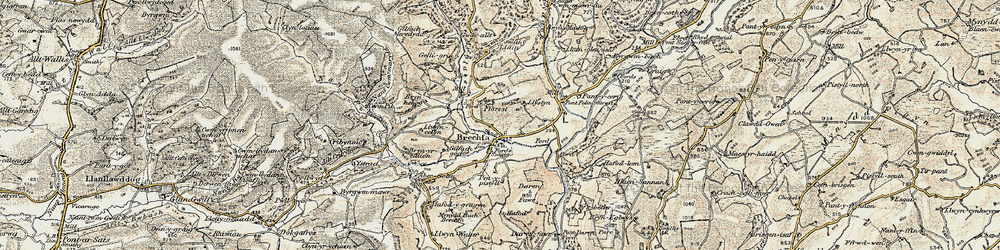 Old map of Ynys-Brechfa in 1900-1901