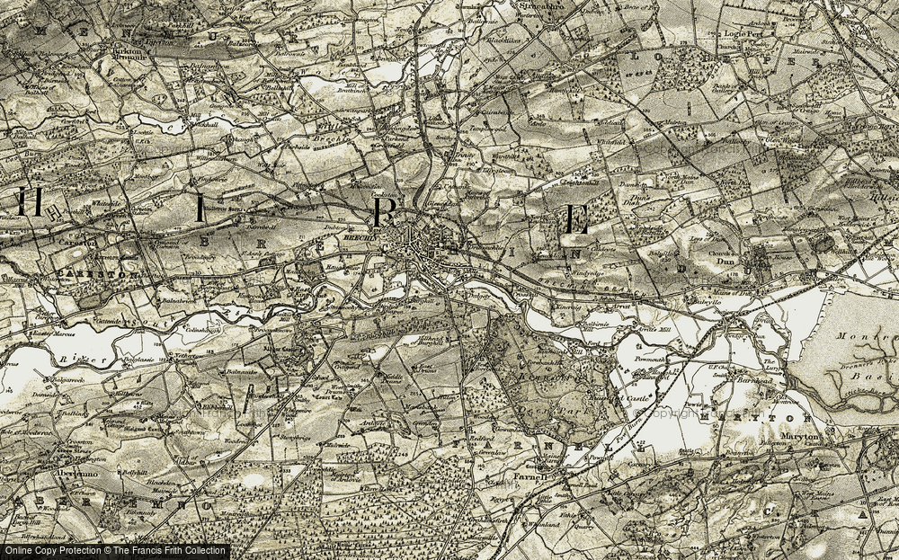 Old Map of Historic Map covering Leuchland in 1907-1908