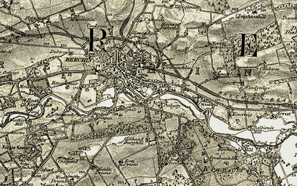 Old map of Brechin in 1907-1908