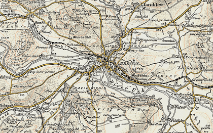Old map of Brecon in 1900-1901