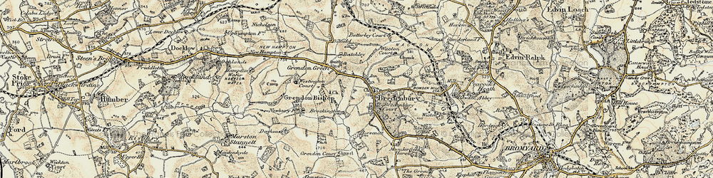 Old map of Bredenbury in 1899-1902