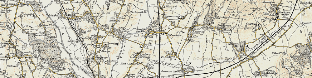 Old map of Bredon in 1899-1901