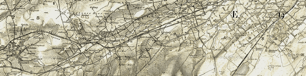 Old map of Woodmuir Burn in 1904-1905