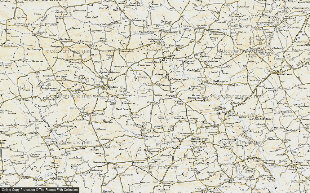 Old Map of Historic Map covering Wheelers Cross in 1900