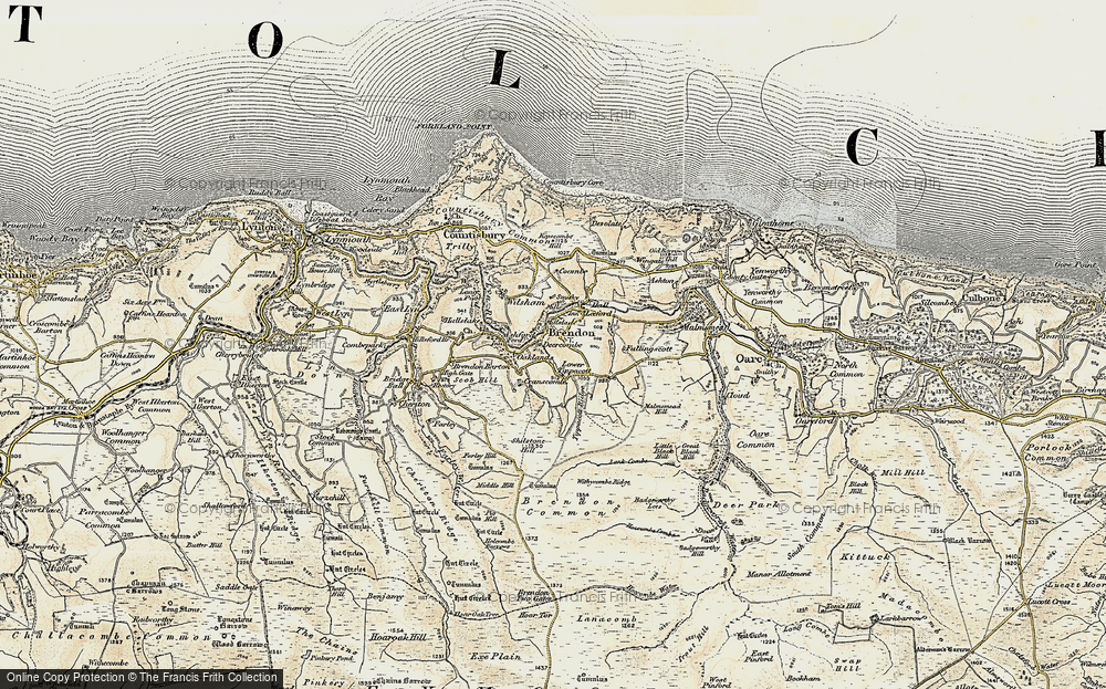 Old Map of Historic Map covering Tippacott Ridge in 1900