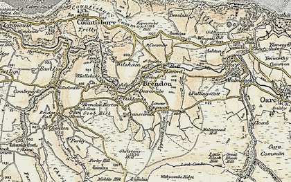 Old map of Withycombe Ridge in 1900