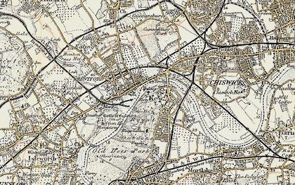 Old map of Brentford in 1897-1909