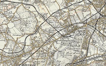 Old map of Brentford End in 1897-1909