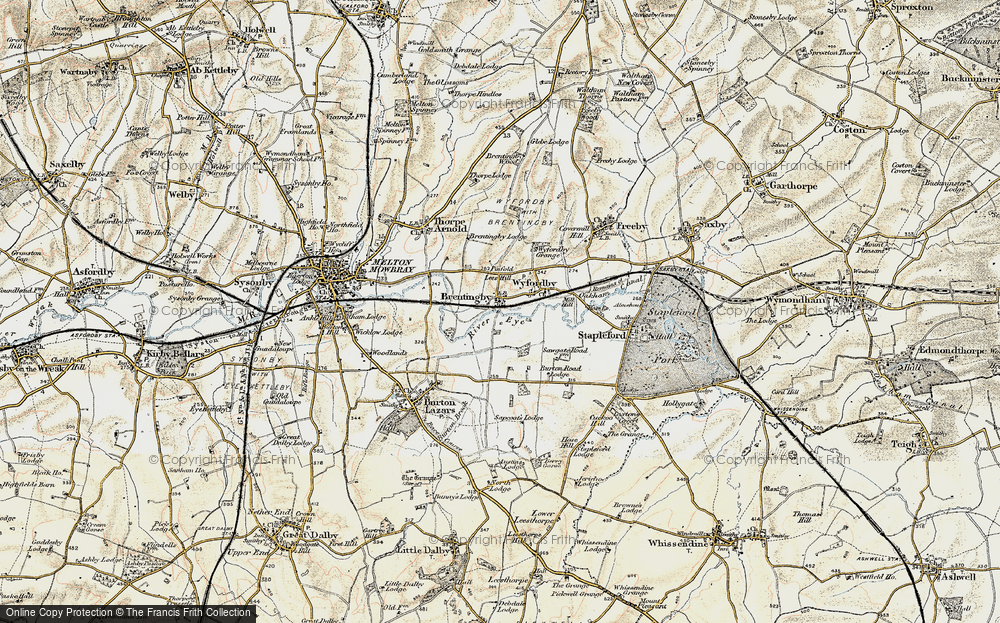 Old Map of Brentingby, 1901-1903 in 1901-1903