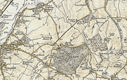 Old map of Bretby in 1902
