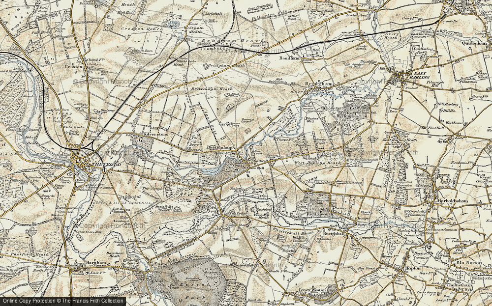 Old Map of Historic Map covering Langmere Boxes in 1901