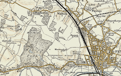 Old map of Bretton in 1901-1902