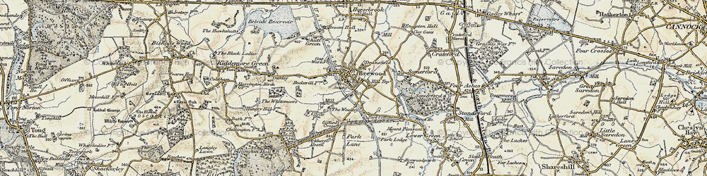 Old map of Brewood in 1902