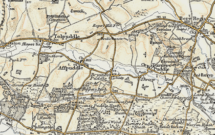 Old map of Ashley Barn in 1899-1909