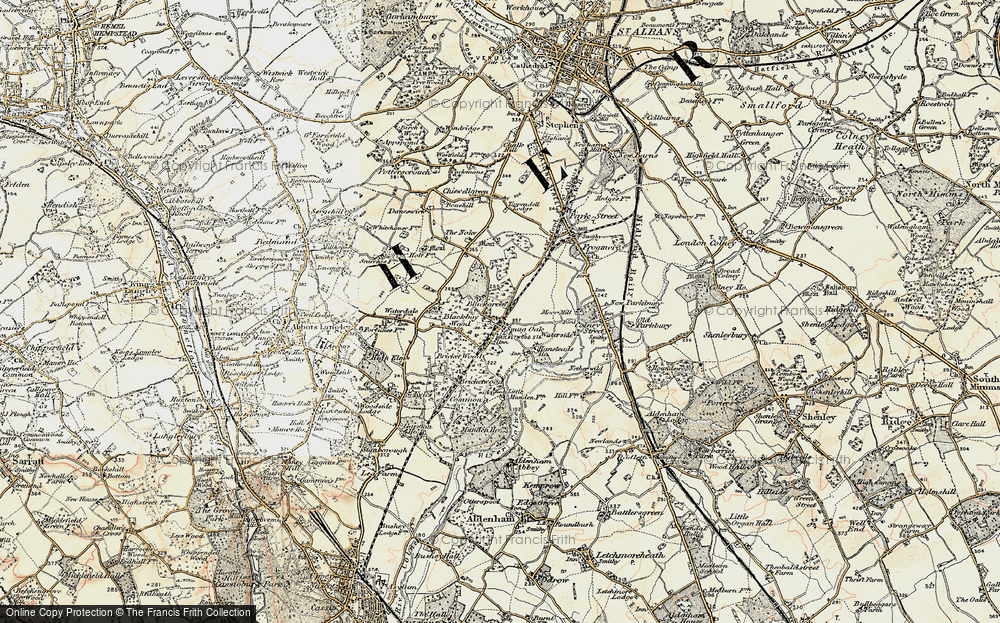 Old Map of Bricket Wood, 1897-1898 in 1897-1898