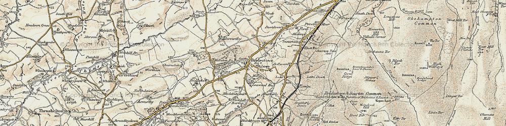Old map of Bridestowe in 1899-1900
