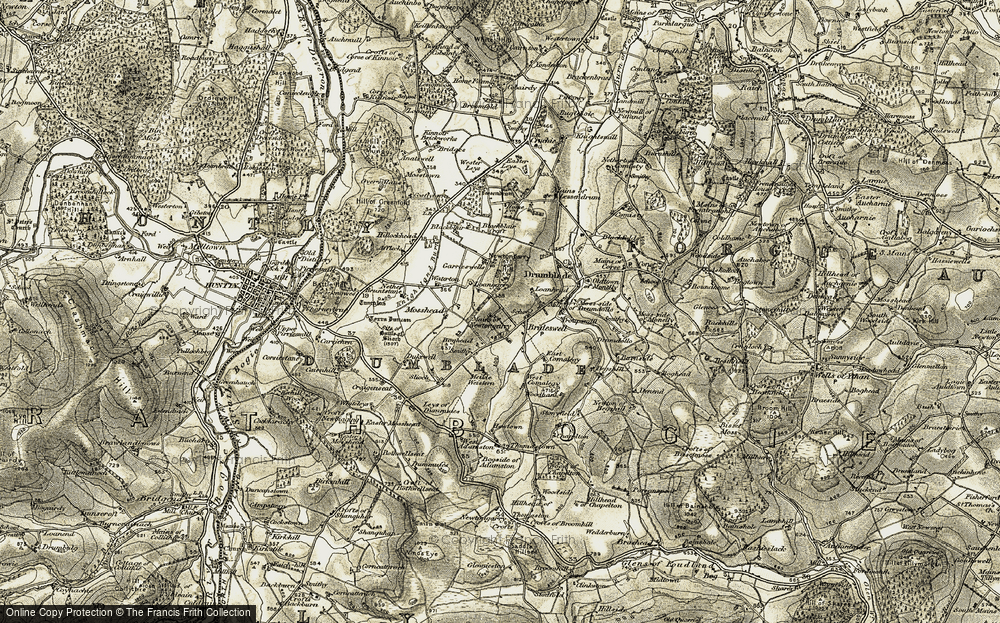 Old Map of Historic Map covering Leys of Dummuies in 1908-1910