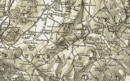 Old map of Affleck in 1908-1910