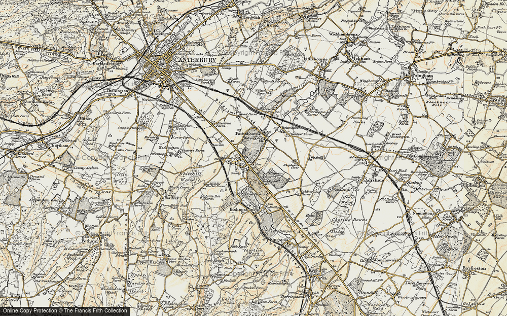 Old Map of Historic Map covering Barham Downs in 1898-1899