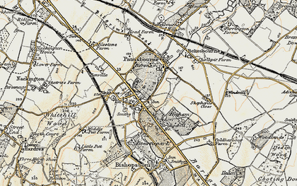 Old map of Barham Downs in 1898-1899
