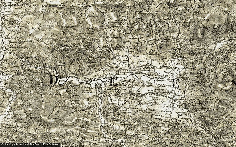 Old Map of Historic Map covering Balquharn in 1908-1910