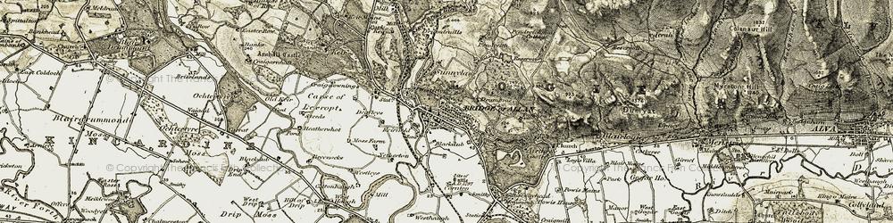 Old map of Bridge of Allan in 1904-1907
