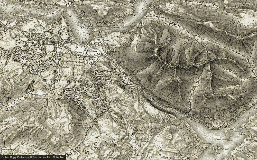 Old Map of Historic Map covering Allt Gruiniche in 1906-1907