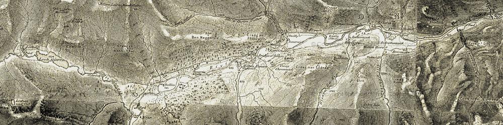 Old map of Allt Baile a' Mhuilinn in 1906-1908