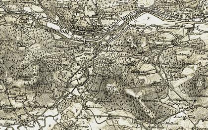 Old map of Tilquhillie Cott in 1908-1909