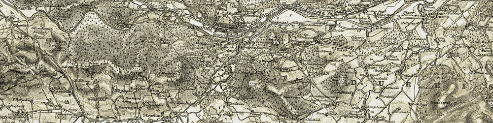 Old map of West Mulloch in 1908-1909