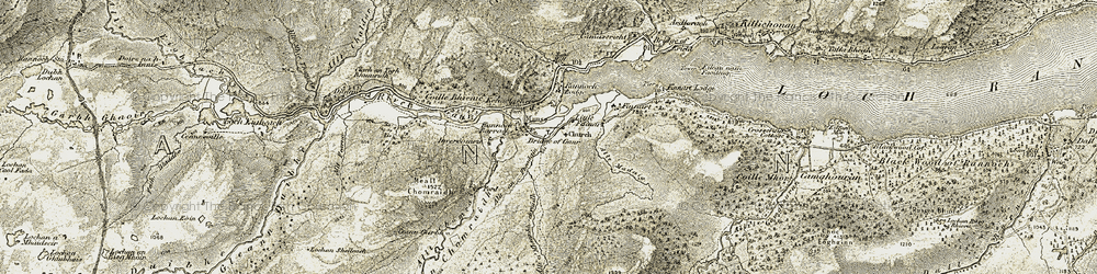Old map of Allt a' Mheanbh-chruidh in 1906-1908