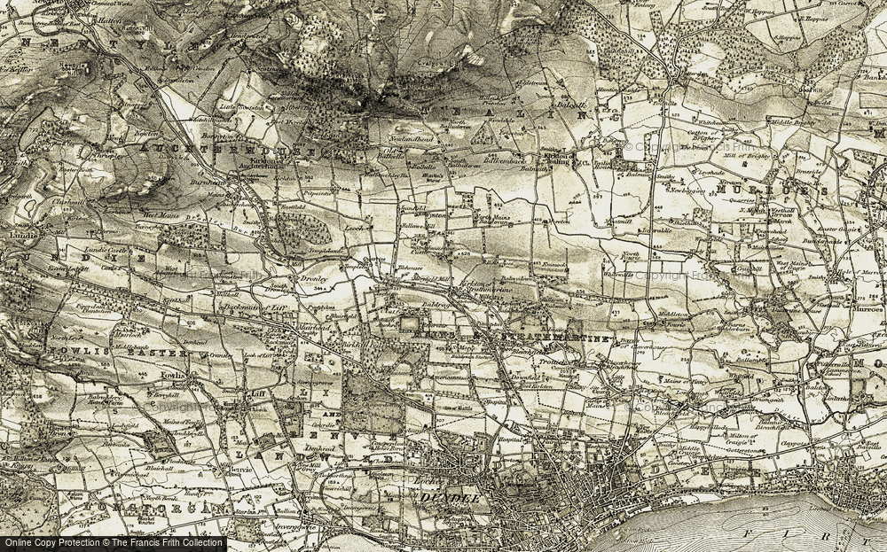 Old Map of Historic Map covering Baldragon in 1907-1908