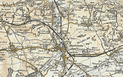 Old map of Bridgend in 1900