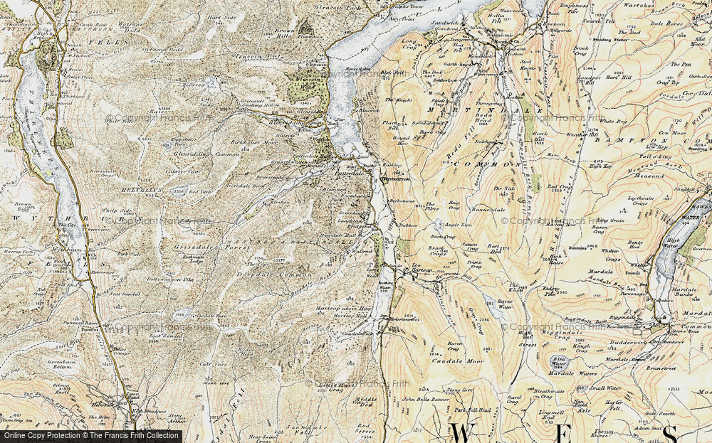 Old Map of Historic Map covering Aiken Crag in 1901-1904