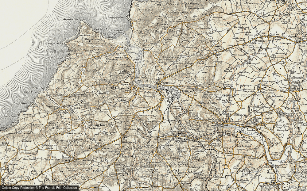 Old Map of Historic Map covering Afon Piliau in 1901