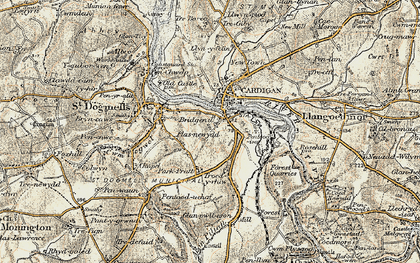 Old map of Afon Piliau in 1901