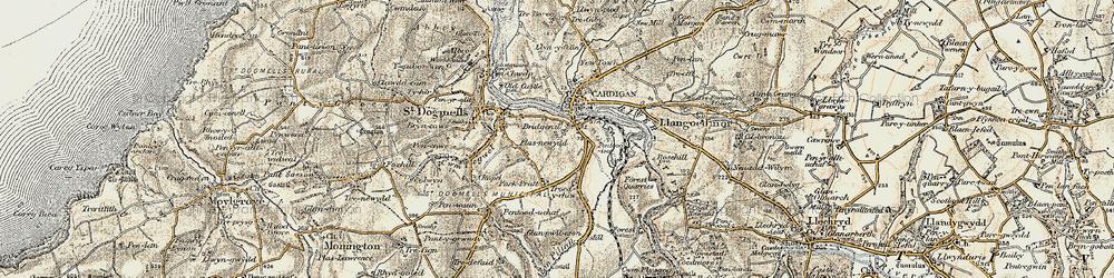 Old map of Afon Piliau in 1901