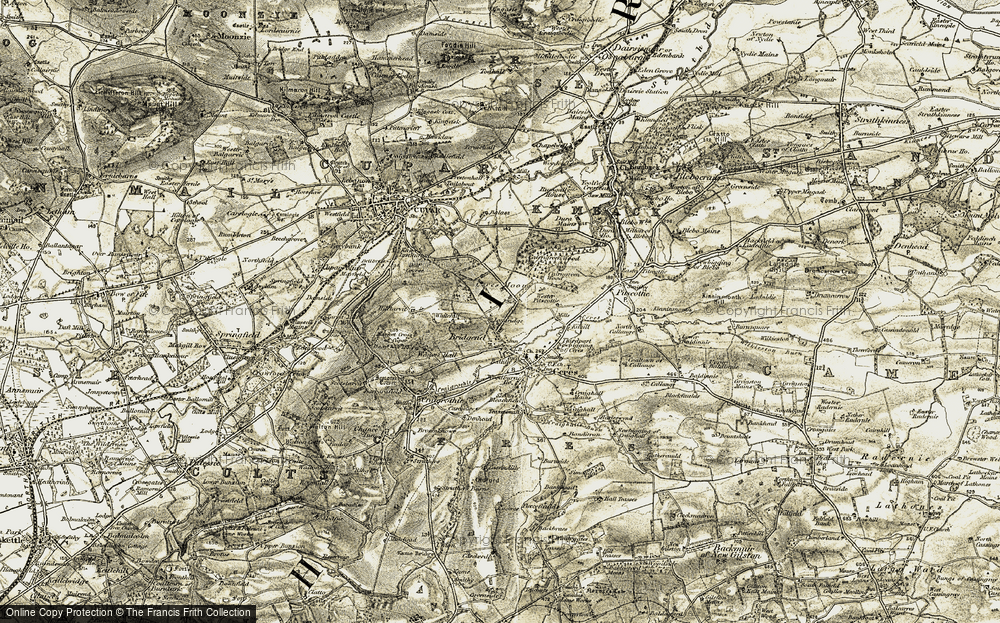 Old Map of Historic Map covering Woodlands in 1906-1908