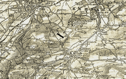 Old map of Wester Pitscottie in 1906-1908