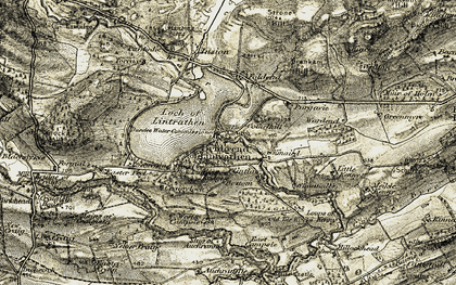 Old map of Lintrathen Lodge in 1907-1908