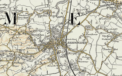 Old map of Bridgwater in 1898-1900