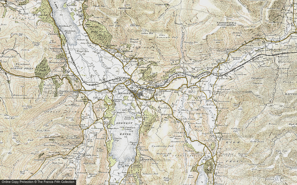 Old Map of Historic Map covering Latrigg in 1901-1904
