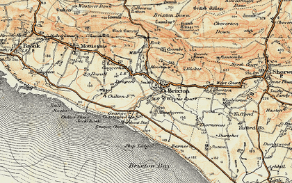 Old map of Brighstone in 1899-1909
