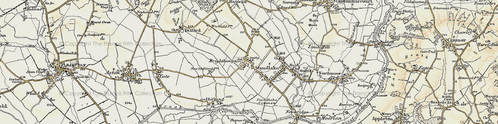 Old map of Brighthampton in 1897-1899