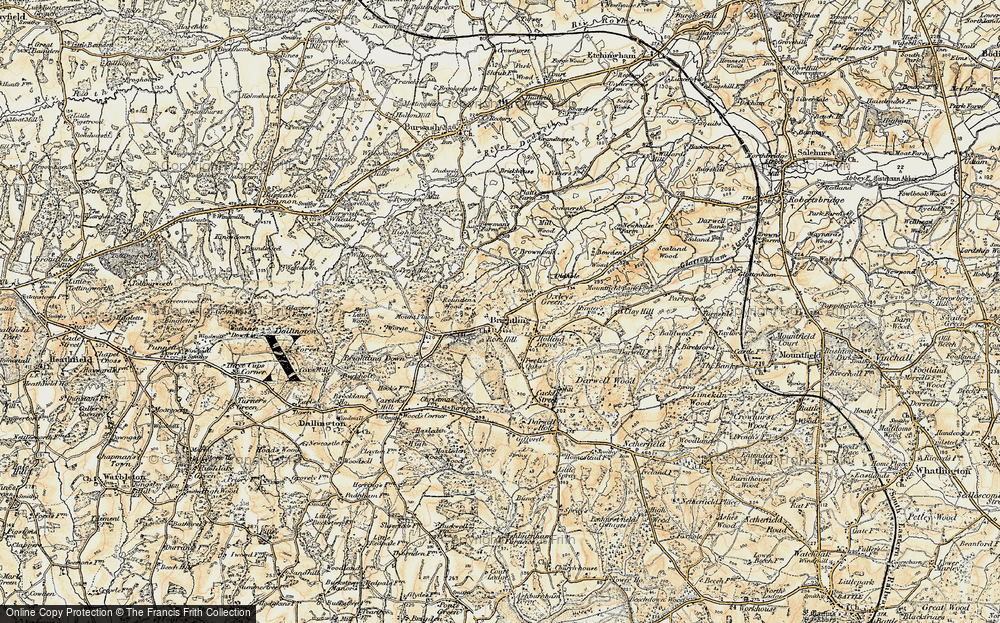 Old Map of Brightling, 1898 in 1898