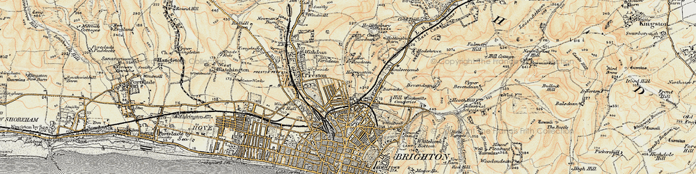 Old map of Brighton in 1898
