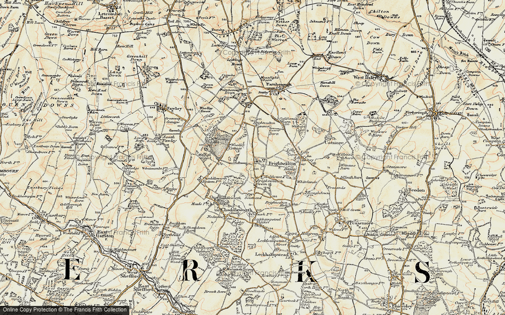 Old Map of Historic Map covering Lilley Copse in 1897-1900