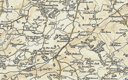 Old map of Brilley Mountain in 1900-1902