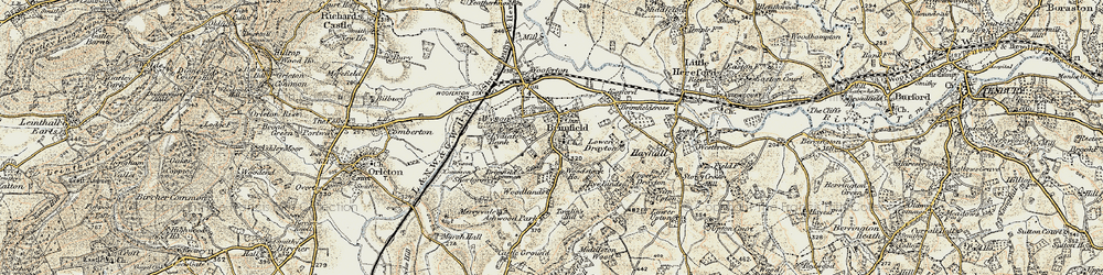 Old map of Woodlands in 1901-1902