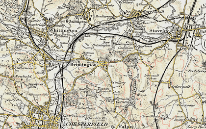 Old map of Brimington in 1902-1903